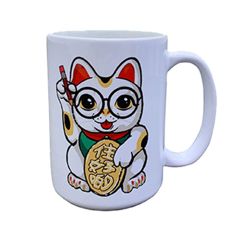 'Lucky Cat in Glasses' Large Mug