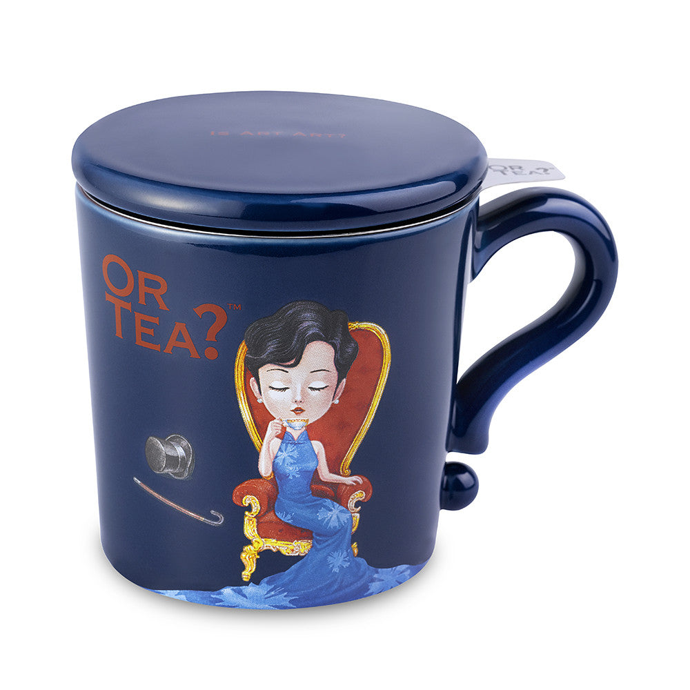 Or Tea MUG w/lid & tea strainer - Indigo