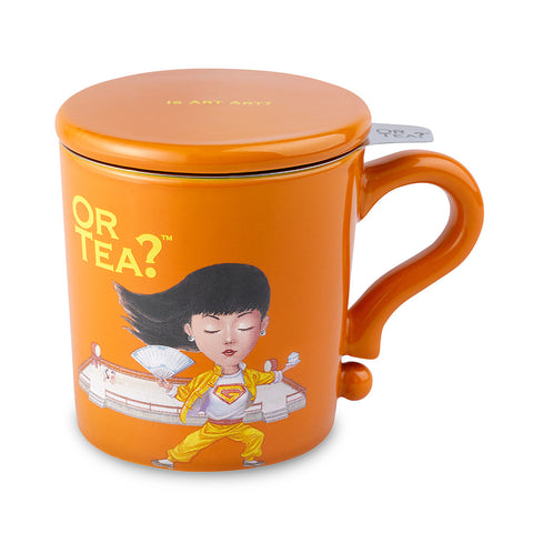 Or Tea MUG w/lid & tea strainer - Orange