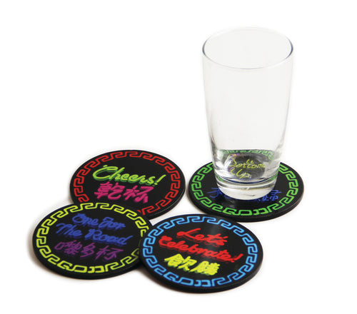 'NEON SIGNS' coaster set of 4
