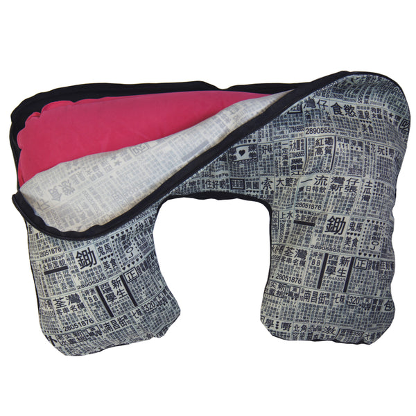'Newspapaer' inflated travel pillow