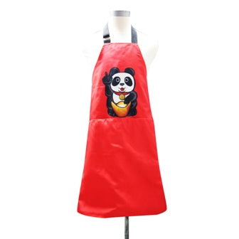 'Lucky Panda' apron, red
