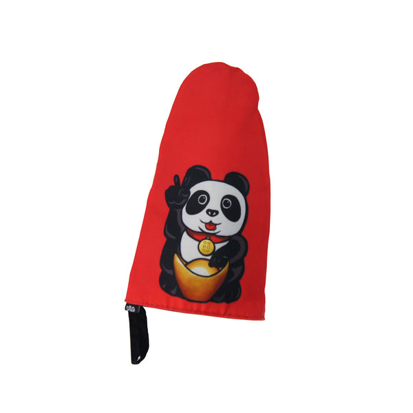 'Lucky Panda' oven mitt, red