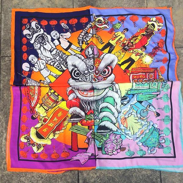 'Lion Dance' Pink Silk Scarf