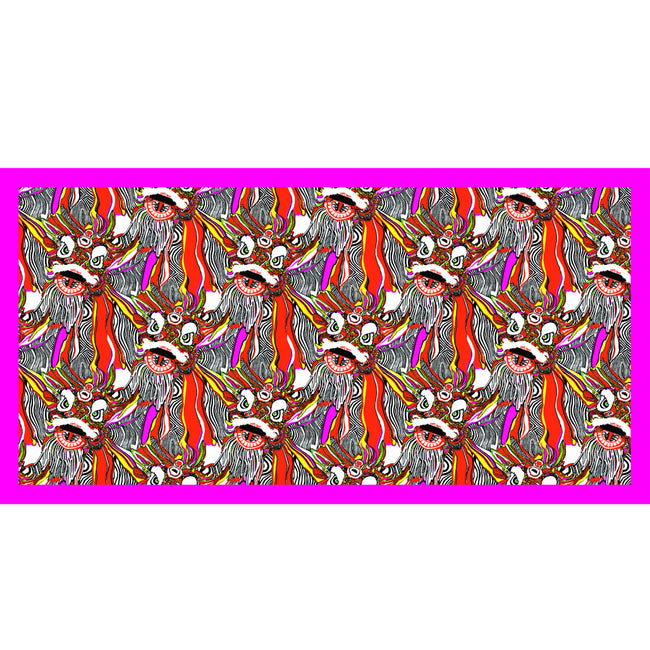 'Psychedelic Lions' silk scarf