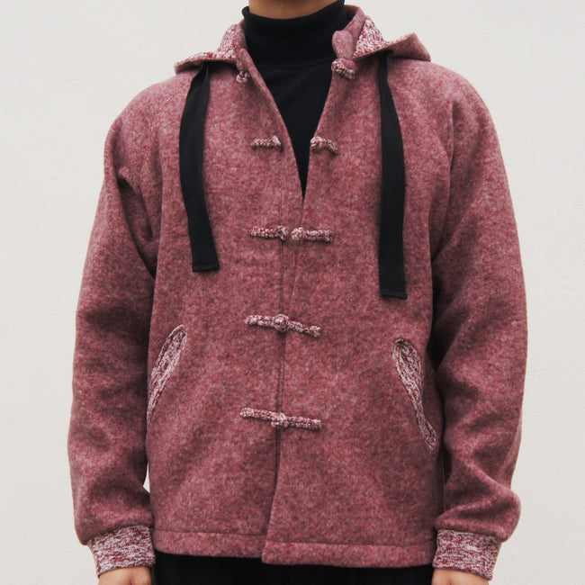 Chinese Collar Hooded Fleece Jacket (red)