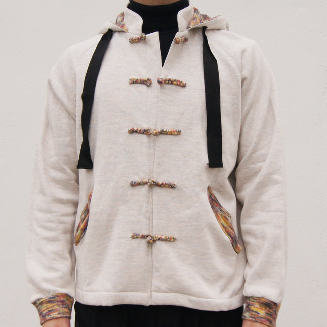 Chinese Collar Hooded Fleece Jacket (cream)