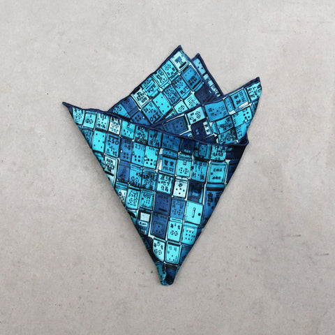 'Letterbox' silk pocket square (blue)