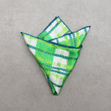 'Green White and Blue' silk pocket square
