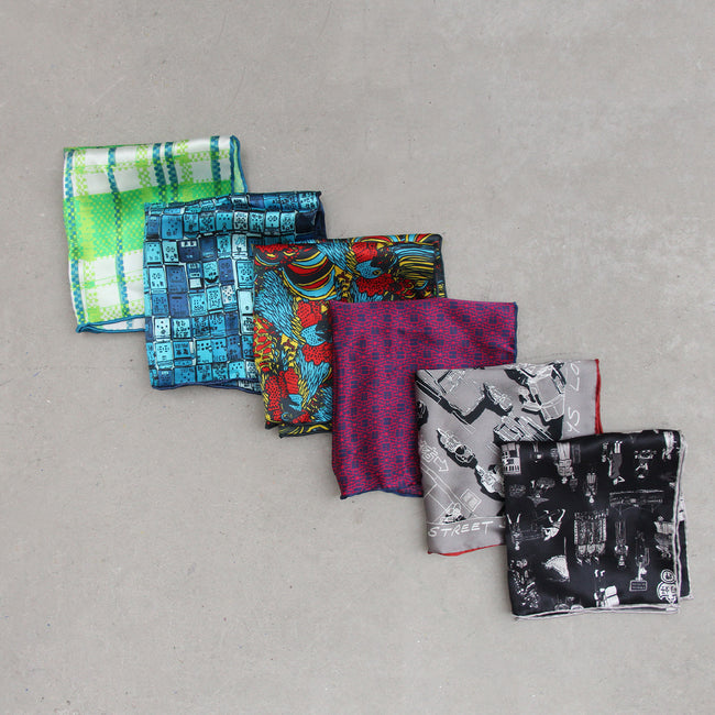 'Hong Kong Districts' silk pocket square, Fashion and Accessories, Goods of Desire, Goods of Desire