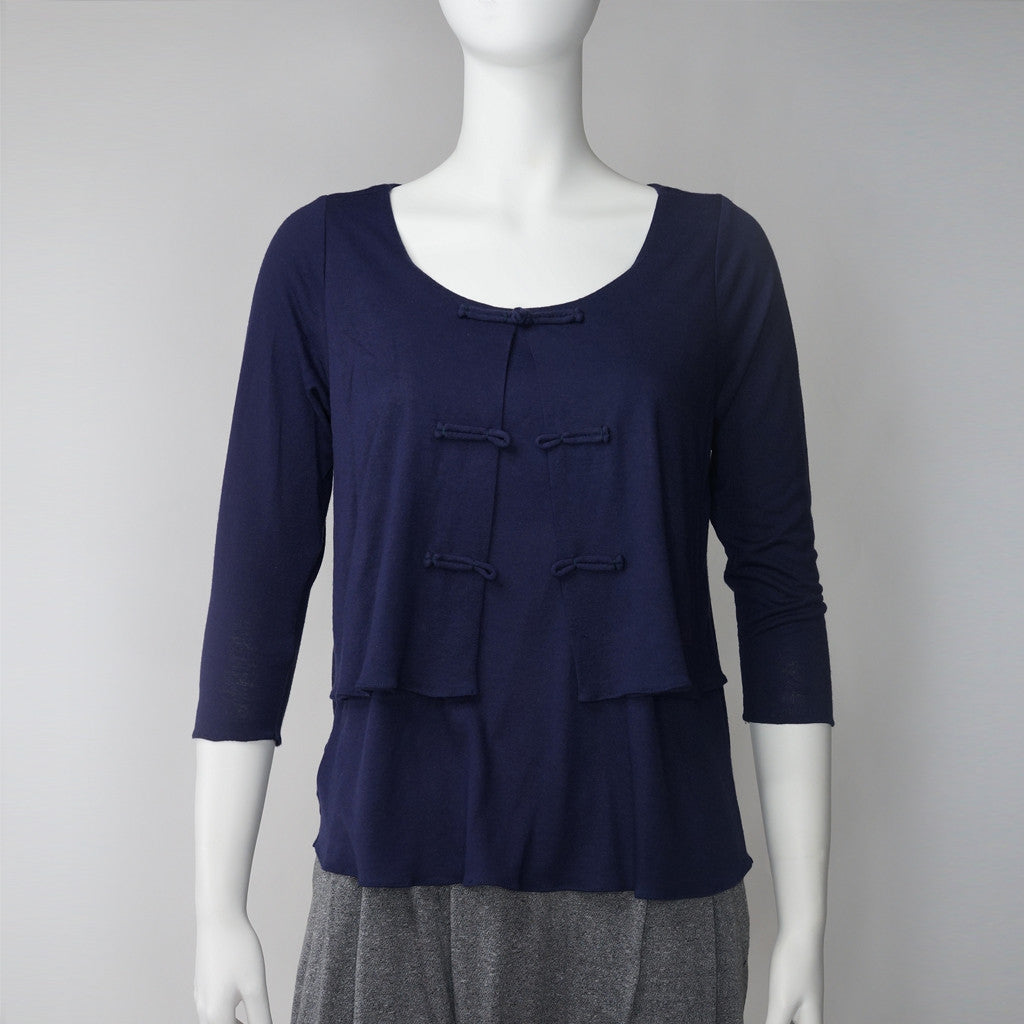 'Chinese buttons' 2 in 1 top (purple)