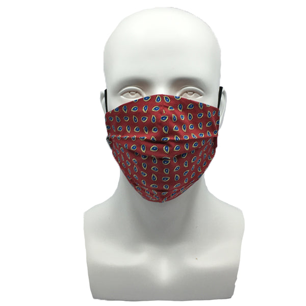 Small Leaves Burgundy Pleated Mask