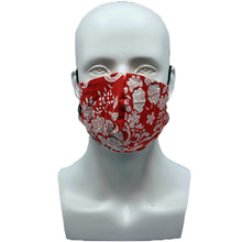 Load image into Gallery viewer, Floral Red Snouted Mask with Adjustable String (Mesh layer)
