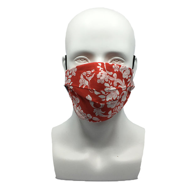 Floral Red Pleated Mask