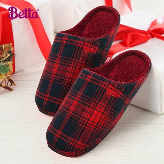 Betta Checked Ladies Slippers, Red