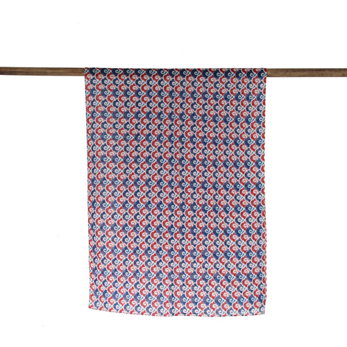 'Never Ending Wave' cotton scarf (red/blue)