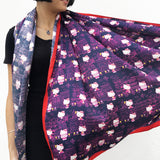 'Hello Kitty x G.O.D. Yaumati' Silk Scarf in Navy