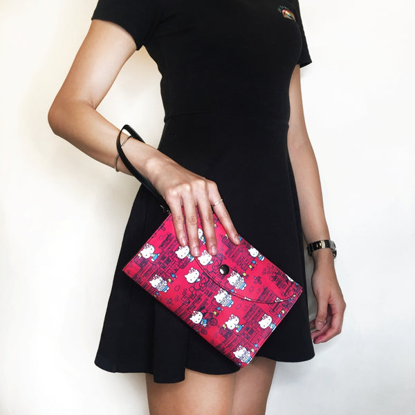 'Hello Kitty x G.O.D. Yaumati' leather clutch (red)