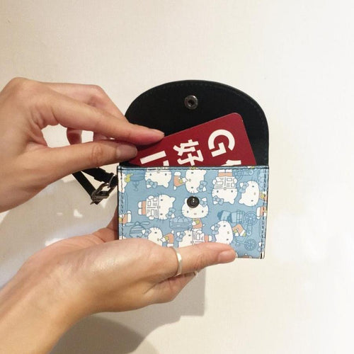 'Hello Kitty x G.O.D. Hong Kong Playtime' leather card case (baby blue)