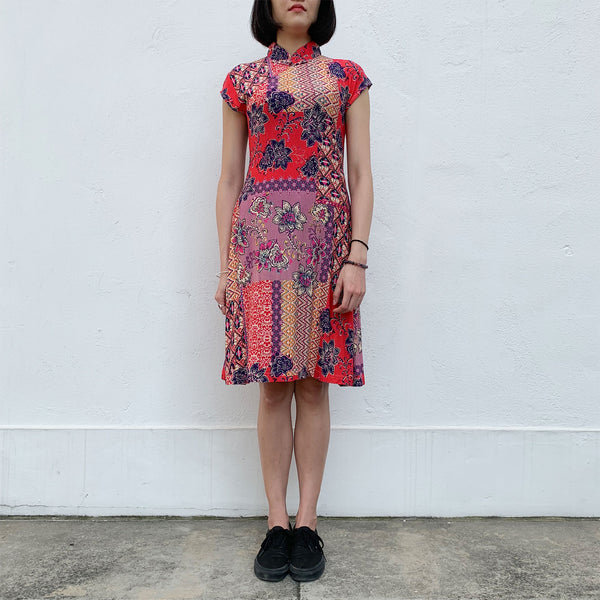 'Retro patch' Printed Qipao Dress
