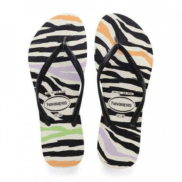 Havaianas Slim Animals Flip Flops, Black/White/Black