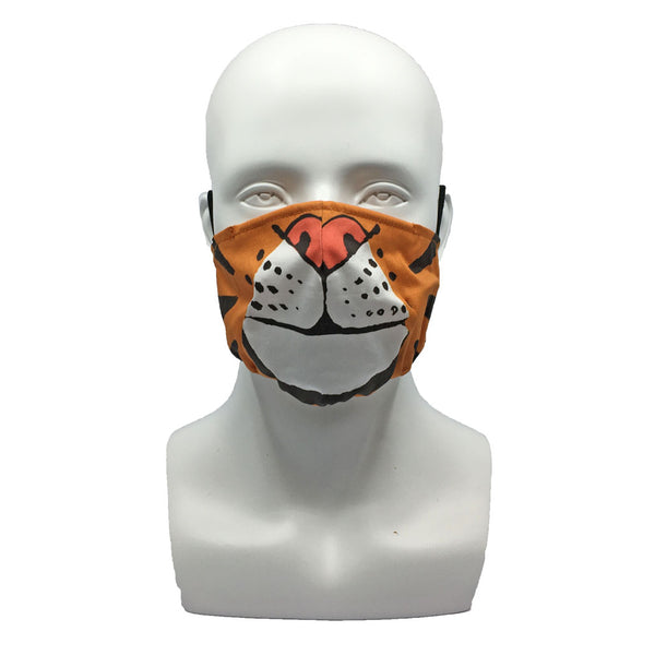 One Layer Fabric Ruffle Mask with Adjustable String, TIGER