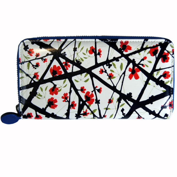 'Cotton Tree' zip around leather long wallet
