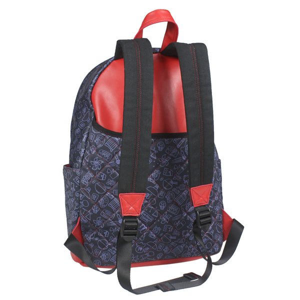 'What's up HK' with leather trim backpack (large)