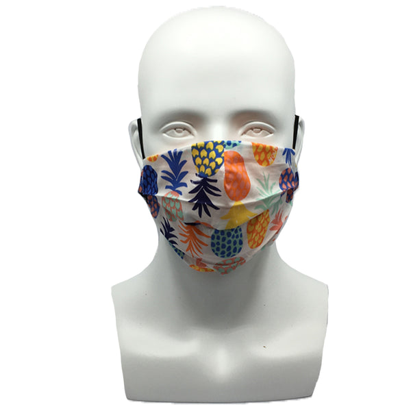 Pineapple White Pleated Mask