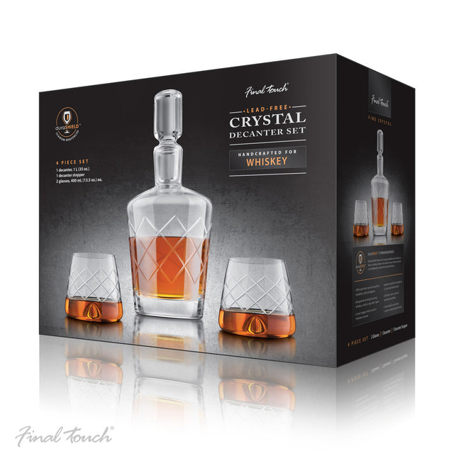 Crystal whiskey decanter set