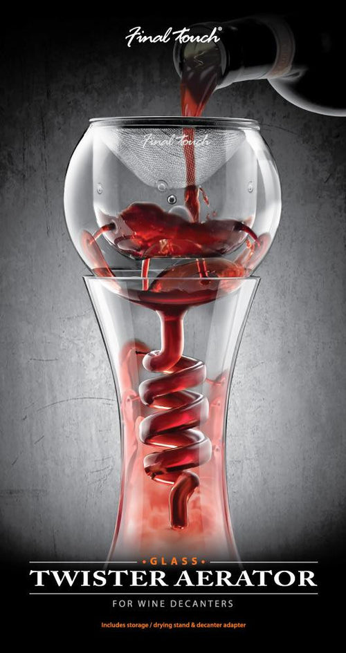 Twister wine aerator and stand