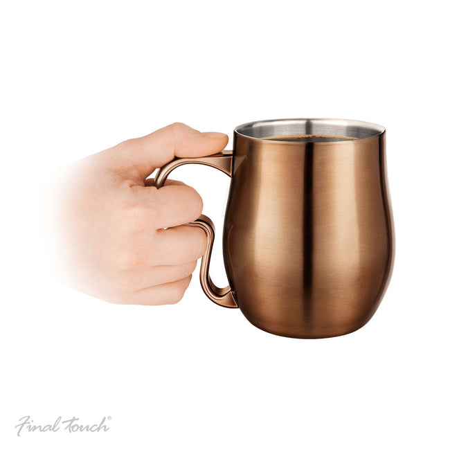 Stainless steel curvy copper cup