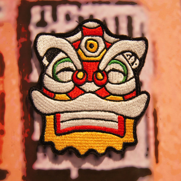 'Lion - Grinning' embroidered patch