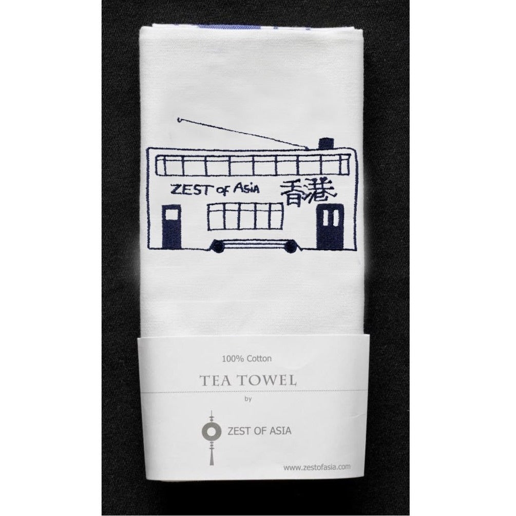 Blue Tram Tea Towel by Zest of Asia