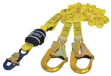 FORCE2™ SHOCK ABSORBING LANYARDS - Webbing - Double Tail- Elasticated, 2.0 m overall length with 9505254 snaphook and 9502058 scaffold hooks on tails