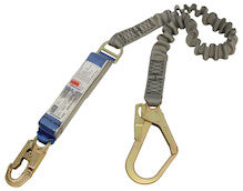 EZ-STOP™ SHOCK ABSORBING LANYARDS - Webbing - Single Tail, Elasticated, 2.0 m overall lengthwith 2000169 snap hook and 07153 scaffold hook
