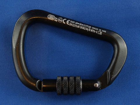 "Black Industrial, Steel Screw Gate, Kong, ""X-Large-D"" Steel Screwgate karabiner. (411)  50kN (5000kg) Keylock nose"