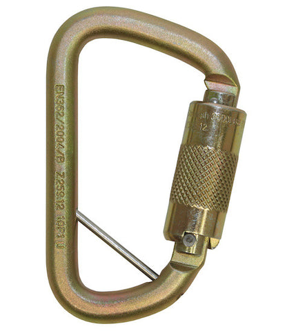 Medium Offset D Fall Arrest Karabiner, 20 mm gate opening, autolock, captive eye, double action, steel