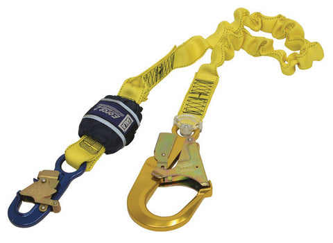 FORCE2™ SHOCK ABSORBING LANYARDS - Webbing - Single Tail - Elasticated, 2.0 m overall length with 9505254 snaphook and 9502058 scaffold hook on tail