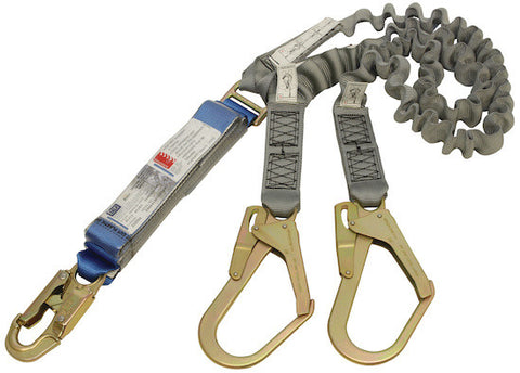 EZ-STOP™ SHOCK ABSORBING LANYARDS - Webbing - Double Tail, Elasticated, 2.0 m overall lengthwith 2000169 snap hook and 01753 scaffold hooks