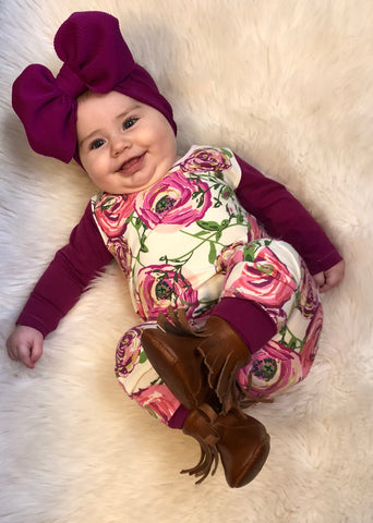 Fuschia rose pull on romper