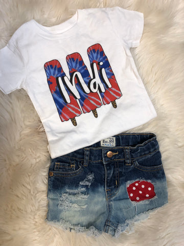 Personalized tie dye popsicle tee