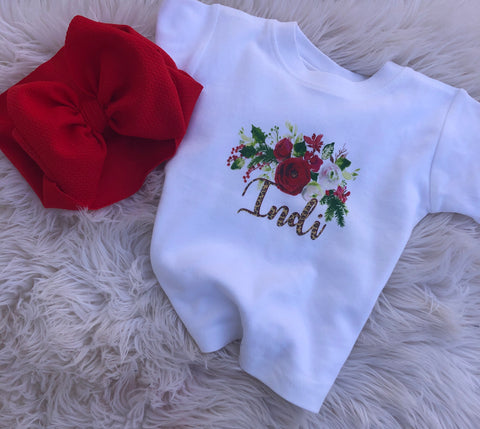 Christmas floral personalized tee