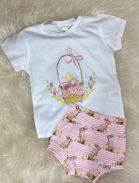 Personalized basket tee and bummie SET