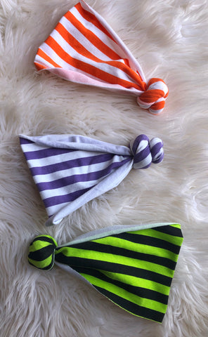 PURPLE STRIPE Halloween topknot