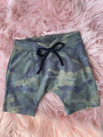 Distressed Camo Jogger Shorts