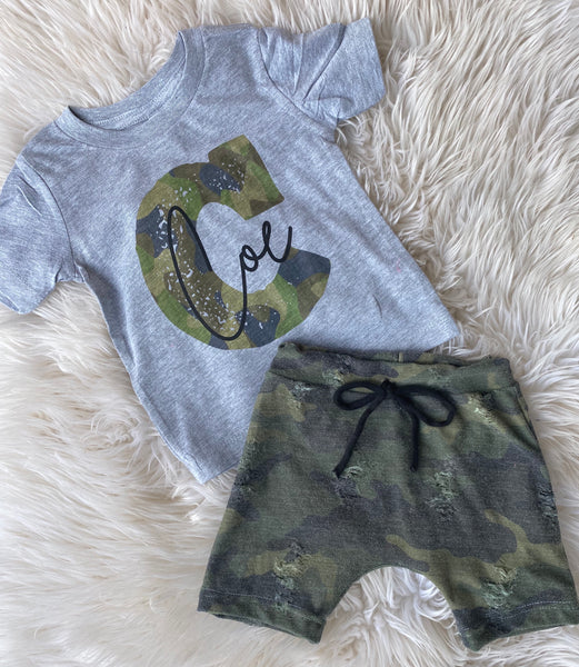Distressed Camo Tee and short SET