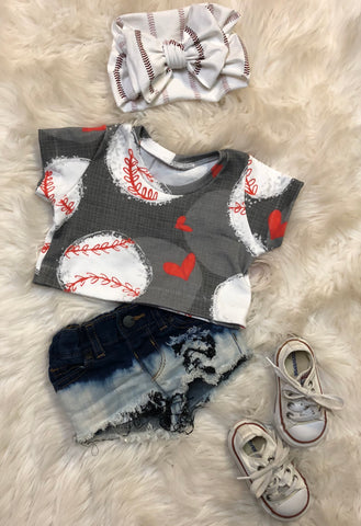Baseball love crop top