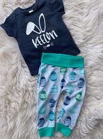 Personalized bunny tee and egg jogger SET