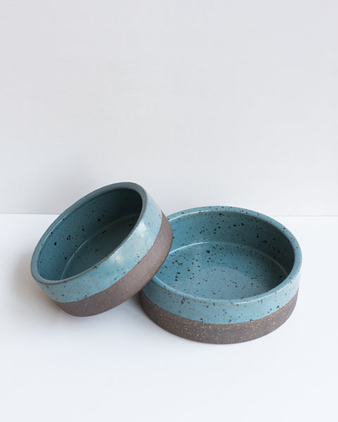 Blue Stoneware Dog Bowl